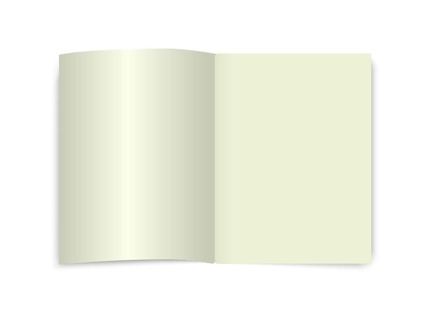 Livre ouvert maquette page vue de dessus dictionnaire scolaire vierge cahier ecnyclopedia modèle de journal isolé blanc
