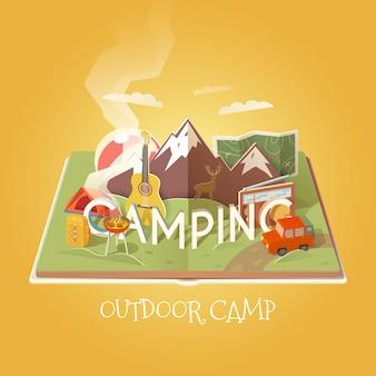 Livre ouvert avec des objets de camping. paysage de montagne. activités de plein air. aventures dans la nature, vacances. illustration de camping.