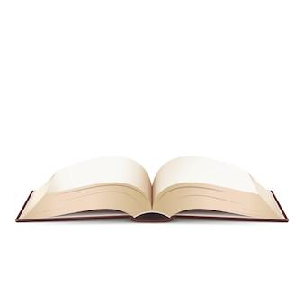 Livre ouvert avec des pages claires isolé sur fond blanc