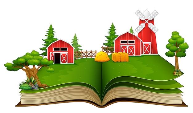 Livre ouvert avec scène de ferme