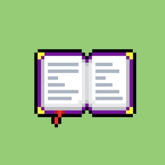Livre ouvert avec un style pixel art