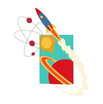 Livre ouvert avec système solaire