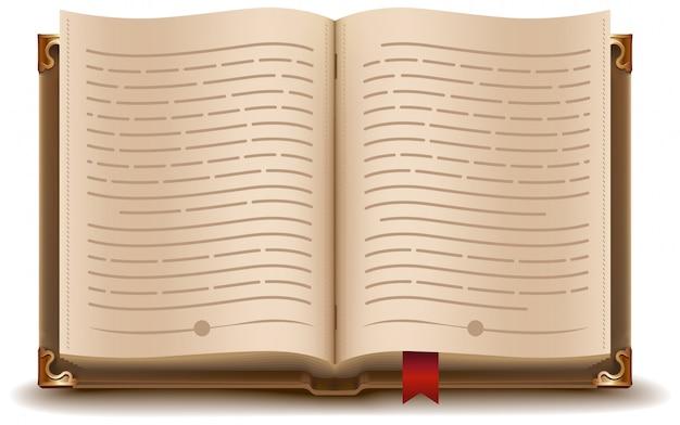 Livre ouvert avec texte et signet rouge