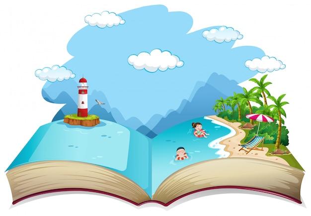 Livre ouvert thème vacances d'été à la plage