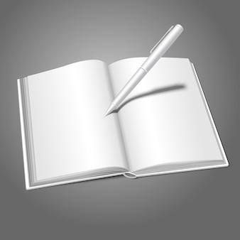 Livre ouvert de vecteur réaliste blanc vierge avec un stylo écrit dessus avec place pour vos messages texte