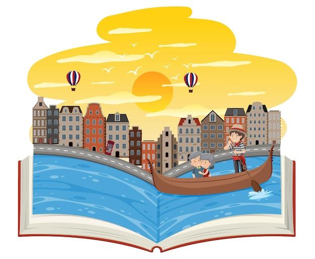 Livre ouvert avec un vieux couple dans la gondole