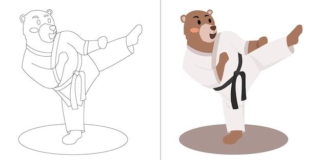 Livre ou page de coloriage de karaté d'ours de dessin animé mignon d'enfants pour des enfants