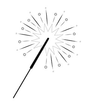 Livre ou page de coloriage de noël. illustration vectorielle de noël cierge magique noir et blanc
