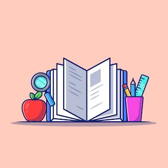 Livre avec papeterie, pomme et loupe cartoon illustration.