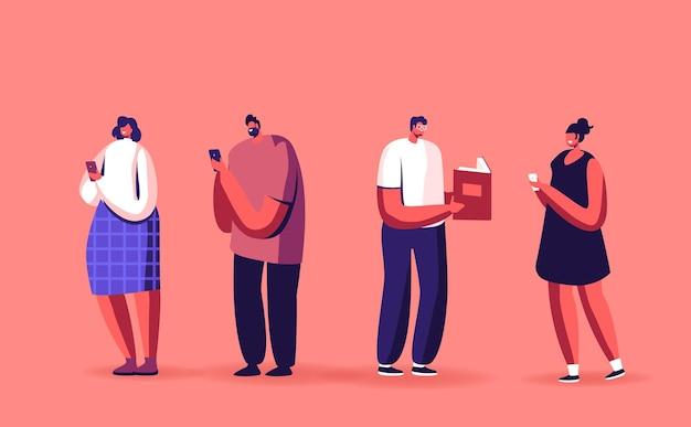 Livre papier vs concept de livre électronique. personnages masculins ou féminins lisant à l'aide d'ebooks et de smartphones de technologies innovantes. éducation, littérature, appareil numérique pour la lecture. illustration vectorielle de gens de dessin animé