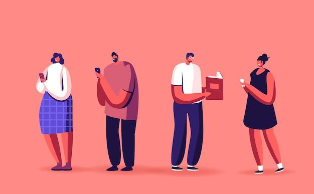 Livre papier vs illustration de livre électronique. lecture de caractères masculins ou féminins à l'aide de technologies innovantes ebooks et smartphones