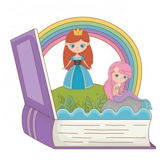 Livre et personnage de l'illustration vectorielle de conception de conte de fées