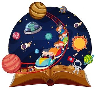 Livre pop up Rollacoaster à travers l'espace