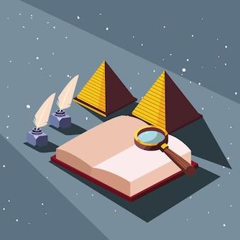 Livre avec des pyramides de lupe et des stylos
