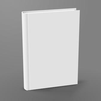 Livre relié vierge debout sur fond gris en illustration 3d