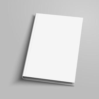 Livre relié vierge sur fond gris clair en illustration 3d