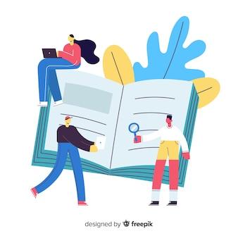 Livre rempli du nouveau concept d'université de l'information