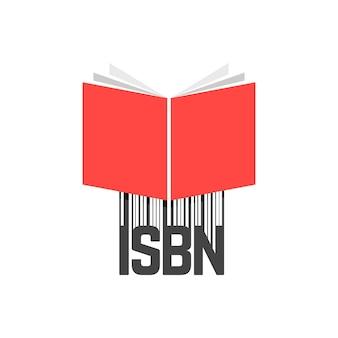 Livre rouge avec code à barres isbn. concept de livret, ebook, littérature commerciale standard, logo de livre ouvert, presse. isolé sur fond blanc. illustration vectorielle de style plat tendance logotype moderne design