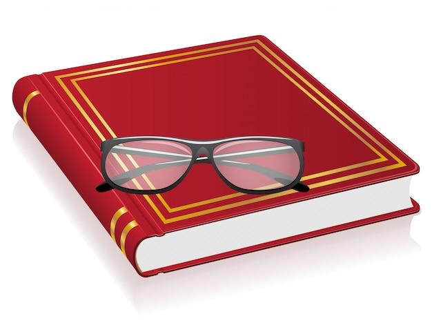 Livre rouge et lunettes vector illustration