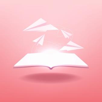 Le livre s'ouvre avec des avions en papier volant hors du livre.