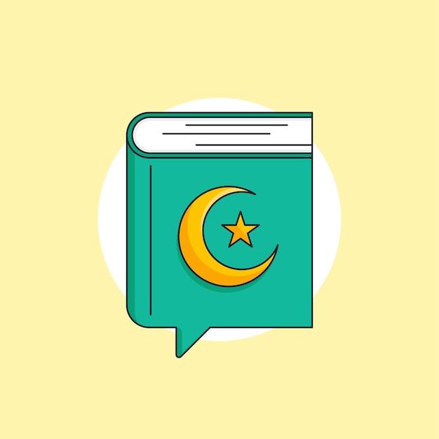 Livre sacré du coran de l'illustration de l'icône de l'islam avec la conception de vecteur de symbole de bulle de parole