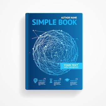 Livre de science avec concept de recherche scientifique sphère abstraite design plat