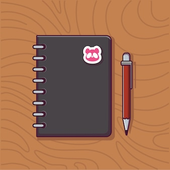 Livre et stylo icône illustration éducation et école objet icône concept livre et dessin animé stylo