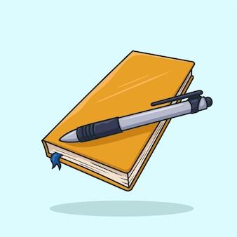 Livre et stylo vecteur de dessin animé
