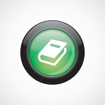 Livre verre signe icône vert brillant bouton. bouton du site web de l'interface utilisateur