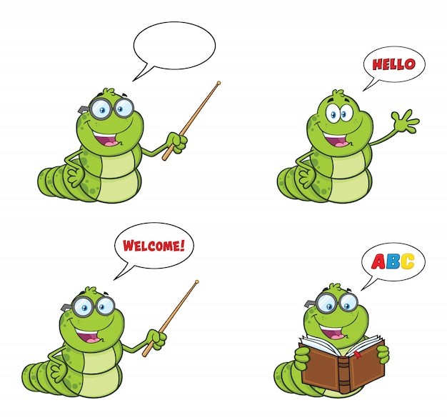 Livre worm mascot cartoon character set