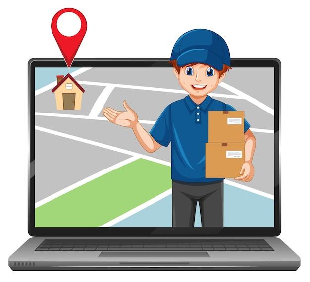 Livrer ou courrier homme en personnage de dessin animé uniforme bleu dans l'affichage de l'ordinateur portable