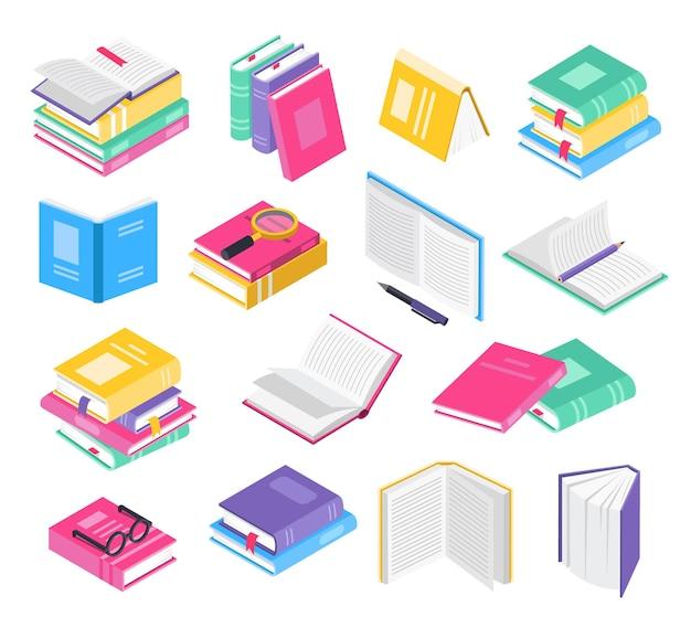 Livres 3d isométriques manuels scolaires ouverts et fermés avec ensemble de vecteurs de piles de livres de signets
