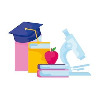 Livres de bibliothèque avec graduation au microscope et au chapeau