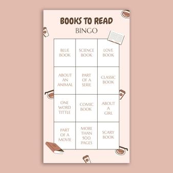 Livres de bingo mignons pour lire l'histoire d'instagram