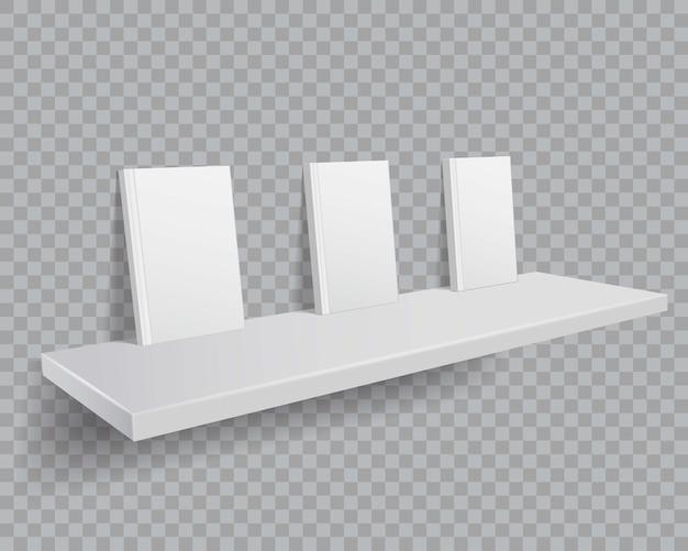 Livres blancs 3d sur étagère. maquette de livres avec des couvertures vides sur une étagère.