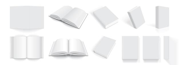 Livres blancs avec une couverture épaisse de différents côtés isolés sur blanc