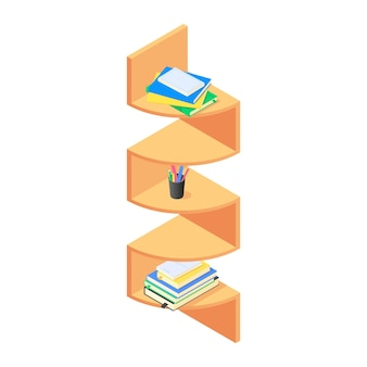 Livres et chancellerie sur une étagère en bois marron en isométrique