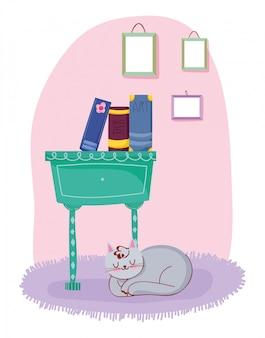 Livres de chat dans un tiroir de meubles avec décoration de cadres, journée du livre