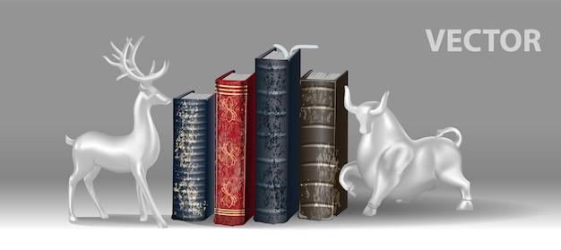 Livres colorés avec des signets avec des arrêts pour les livres sous la forme d'un cerf et d'un taureau