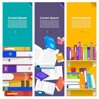 Livres de concept. éducation et apprentissage avec des livres. illustrer.