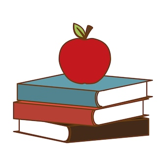 Livres de couleurs avec pomme rouge sur le dessus