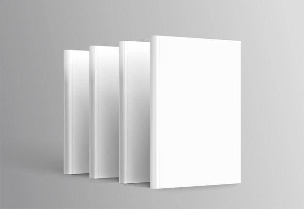 Livres à couverture rigide mis debout sur fond gris en illustration 3d
