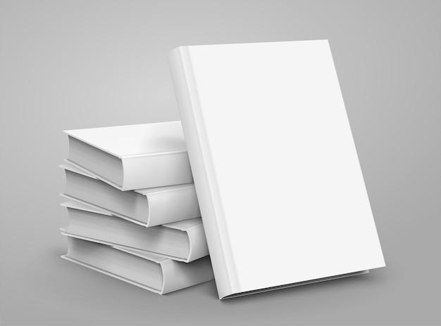 Livres à couverture rigide vierges s'empilent sur fond gris clair en illustration 3d