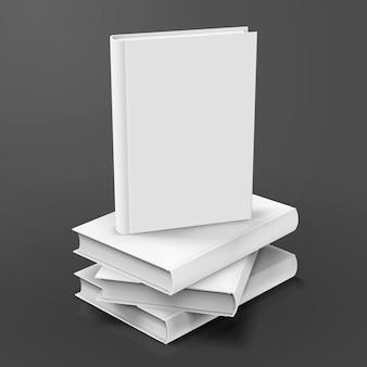 Livres à couverture rigide vierges s'empilent sur fond gris foncé en illustration 3d