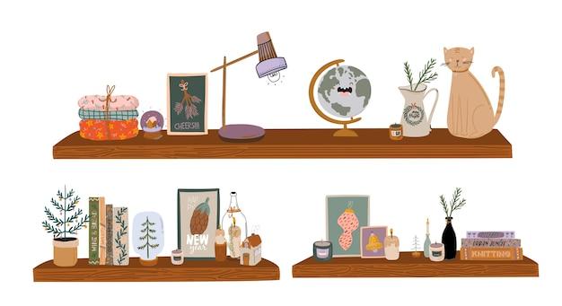 Livres et ensemble de lecture. manuels pour les études universitaires, chats mignons, plantes d'intérieur. illustration colorée de dessin animé plat.