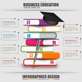 Livres étape modèle de conception de vecteur d'infographie éducation