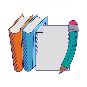 Livres avec feuille et stylo lignes bleues