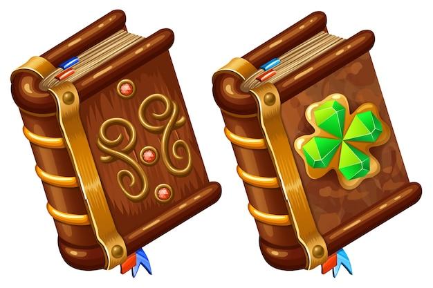 Livres isométriques avec trèfle à quatre feuilles.