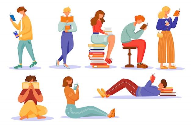 Livres, lecture, plat, vecteur, illustrations, ensemble