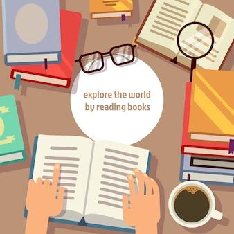 Livres lisant avec des lunettes et une loupe